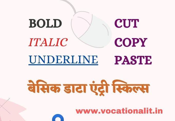 bold italic underline cut copy paste